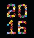El centro de flores es el número 2016 Foto de archivo libre de regalías