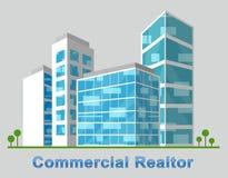 El centro de la ciudad comercial del agente inmobiliario describe Real Estate 3d Illustratio Fotografía de archivo libre de regalías