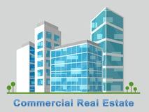 El centro de la ciudad comercial de Real Estate representa las propiedades 3d Illustr Fotografía de archivo libre de regalías