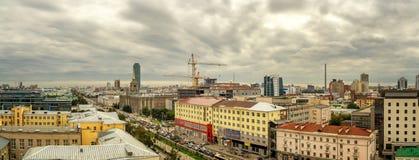 El centro de negocio de Ekaterinburg, capital de Ural, Rusia, 15 08 2014 años Imagen de archivo libre de regalías