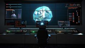 El centro humano de la asistencia médica, sala de control principal, conecta líneas digitales en interfaz del indicador digital,  stock de ilustración