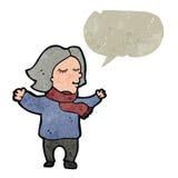 el centro retro de la historieta envejeció a la mujer con la burbuja del discurso Foto de archivo libre de regalías