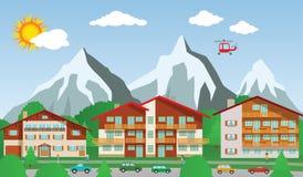 El centro turístico en las montañas ilustración del vector