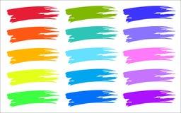 El cepillo colorido frota ligeramente muestras del color Imagen de archivo