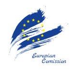 El cepillo de la unión europea frota ligeramente la plantilla pintada de la bandera del vector La UE que agita señala por medio d ilustración del vector