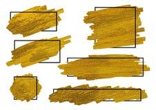 El cepillo del oro alimenta textura en el fondo blanco con el marco Imagen de archivo