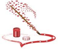El cepillo pintó un corazón por color rojo Imagen de archivo