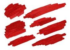 El cepillo rojo alimenta textura en el ejemplo blanco del vector del fondo Foto de archivo libre de regalías