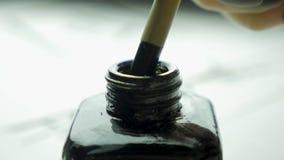 El cepillo y la tinta chinos de escritura Cepillo y tinta Accesorios tradicionales para la escritura caligráfica en chino Fotografía de archivo