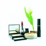El cepillo y los cosméticos del maquillaje fijaron en un fondo blanco Foto de archivo libre de regalías