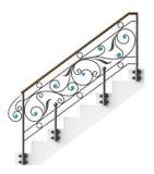 El cercar con barandilla de las escaleras del hierro labrado Imagen de archivo libre de regalías