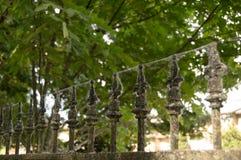 El cercar con barandilla del hierro labrado cubierto en telarañas Foto de archivo
