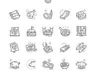 El cerdo Bien-hizo la línea fina rejilla 2x de los iconos 30 del vector a mano perfecto del pixel para los gráficos y Apps del we ilustración del vector