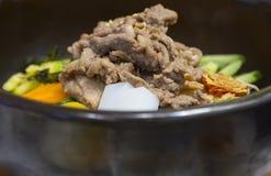 El cerdo con agitación del arroz encendió la comida del estilo coreano Foto de archivo libre de regalías