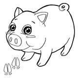 El cerdo con el colorante de la impresión de la pata pagina vector Imagen de archivo