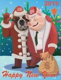 El cerdo 2019 dice adiós a un perro 2018 del amigo libre illustration
