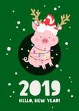 El cerdo divertido en un ` s del Año Nuevo rayó el sombrero ilustración del vector