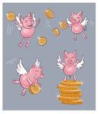 El cerdo divertido trae el dinero Fotos de archivo libres de regalías