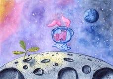El cerdo en traje de espacio encuentra la nueva vida en la luna, mano dibujada con la acuarela stock de ilustración