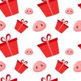 El cerdo es un símbolo de 2019 Años Nuevos Modelo inconsútil con las narices y el presente lindos de los cerdos Diseño plano, eje ilustración del vector
