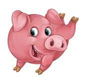 El cerdo feliz de la historieta es mirada sonriente y sonrisa/estilo artístico - aislado Fotografía de archivo