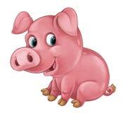 El cerdo feliz de la historieta es mirada y sonrisa sonrientes - estilo artístico - aislada Fotos de archivo libres de regalías