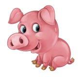 El cerdo feliz de la historieta es mirada y sonrisa sonrientes - estilo artístico - aislada Foto de archivo libre de regalías