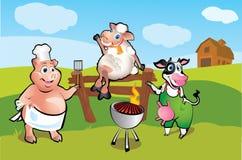El cerdo, las ovejas y la vaca en la barbacoa meriendan en el campo Fotografía de archivo libre de regalías