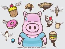 El cerdo piensa el peso y el postre, postre del vector, estilo de la pérdida del garabato ilustración del vector