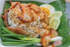 El cerdo rojo asado a la parilla en salsa con arroz, estilo chino asó el cerdo Imagenes de archivo