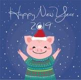 El cerdo rosado feliz para la tarjeta del Año Nuevo stock de ilustración