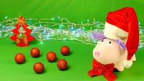El cerdo suave del juguete en un sombrero de Santa Claus se coloca en un hromakey, decoraciones, la Navidad, lento-MES almacen de video