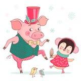 El cerdo y el pingüino lindos divertidos están bailando ilustración del vector