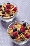 El cereal forma escamas con la baya Imagenes de archivo
