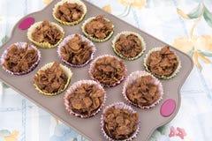 El cereal hecho en casa del chocolate se apelmaza en una bandeja de la hornada Imagenes de archivo