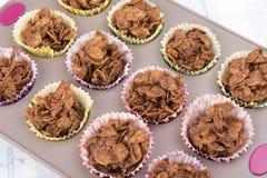 El cereal hecho en casa del chocolate se apelmaza en una bandeja de la hornada Fotos de archivo libres de regalías