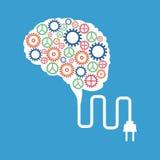 el cerebro adapta concepto del enchufe stock de ilustración