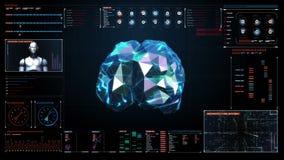El cerebro bajo del polígono, conecta líneas digitales en interfaz del indicador digital, crece la inteligencia artificial futura stock de ilustración