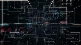 El cerebro conmovedor del hombre de negocios, conecta líneas digitales en el indicador digital, ampliando la línea túnel de la in ilustración del vector