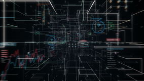 El cerebro conmovedor del polígono del cyborg del robot, conecta líneas digitales en el indicador digital, ampliando la línea tún