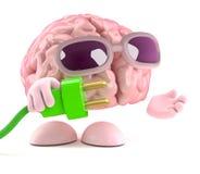el cerebro 3d utiliza energía verde Imagen de archivo libre de regalías