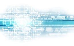 El cerebro humano abstracto del vector en fondo de la tecnología representa el concepto de la inteligencia artificial, ejemplo