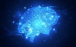 El cerebro humano abstracto del vector en fondo de la tecnología representa el concepto de la inteligencia artificial, ejemplo stock de ilustración