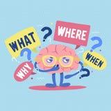 El cerebro humano divertido con los vidrios rodeados por preguntas y puntos de interrogación piensa o soluciona problema o criba libre illustration