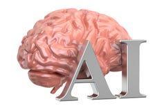 El cerebro humano y el AI mandan un SMS, concepto de la inteligencia artificial 3d ren Foto de archivo libre de regalías