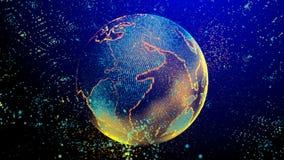 El cerebro que consiste en líneas luminosas y los puntos que forman la tierra del planeta almacen de metraje de vídeo