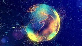 El cerebro que consiste en líneas luminosas y los puntos que forman la tierra del planeta almacen de video