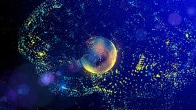 El cerebro que consiste en líneas luminosas y los puntos que forman la tierra del planeta metrajes