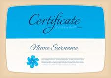 El certificado concede el diploma horizontal en modelo del tamaño A4 Fotografía de archivo libre de regalías
