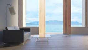 El chalet/3d de la opinión del mar de la sala de estar rinde imagen Fotografía de archivo